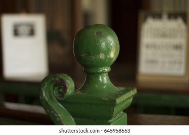 Green Metal Finial in Old Ticket Office