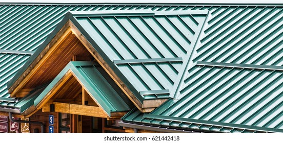Green Metal Roof on an old Wood Building
