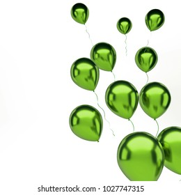 Green metallic baloons on the right sight isolated on white background. 3D illustration of celebration, party, holidays baloons