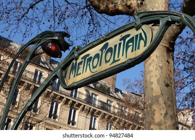 Green metro sign in Paris France