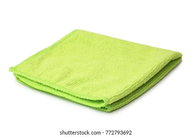 Green microfiber cloth on white background