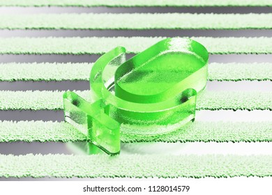 Green Microphone Icon on the Silver Stripes Background. 3D Illustration of Green Mic, Microphone, Old Microphone, Radio Mic Icon Set With Striped Pattern.