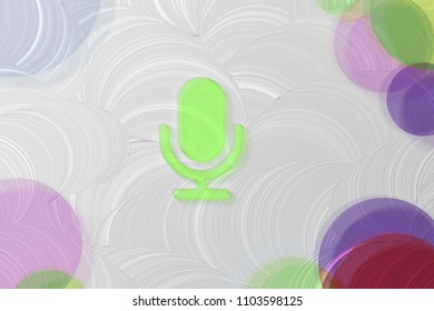 Green Microphone Icon on the White Painted Oil Background. 3D Illustration of Green Mic, Microphone, Old Microphone, Radio Mic Icon Set on the White Background.