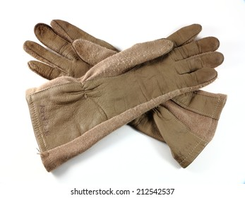 Green military aviator glove with dog tags