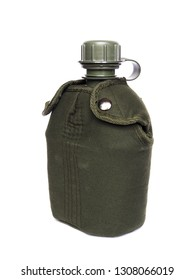 Green military water bottle for hiking, camping. Isolated on white background.