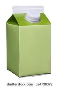 green milk box isolated on white background with clipping path