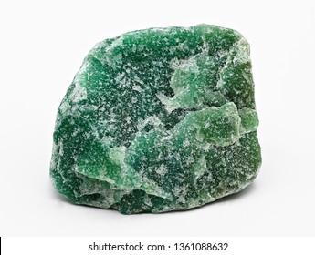 Green mineral stone specimen of aventurine isolated on white limbo background