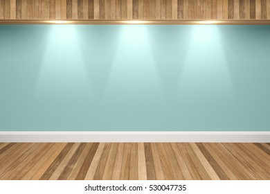 Green mint colors wall & wood floor interior with light spots,3D illustration