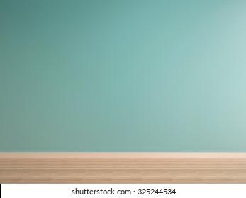 green mint wall on wood floor interior-rendering