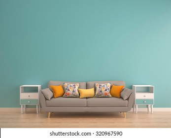 Green Mint Wall With Sofa U0026 Sideboard On Wood Floor Interior