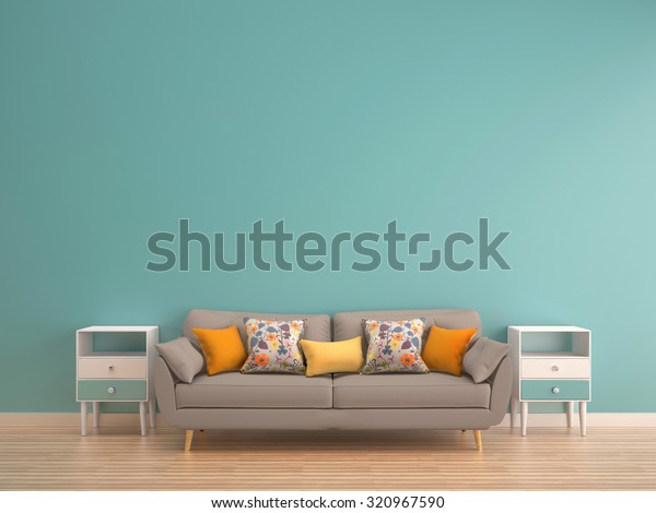 green mint wall with sofa & sideboard on wood floor-interior