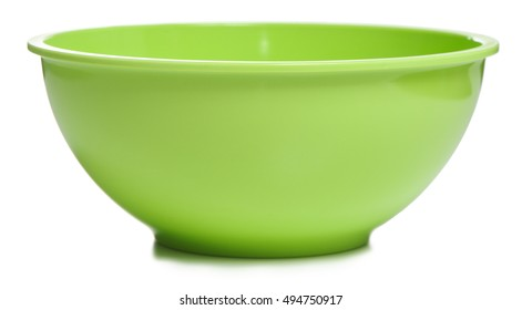 Green mixing bowl on white