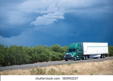 Green modern big rig semi truck with dry van trailer drives along the highway, passing by green olive orchard in California against a background of dense blue sky with mysterious clouds pattern.