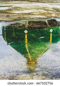 Green Mosque Dome reflects water.