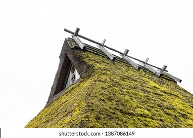 Green moss grows on traditional Japanese thatched roof