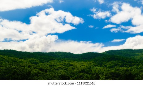 Green mountain forest against a blue sky with white scattered clouds