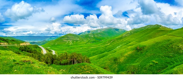 The green mountain landscape of Aragatsotn Province of Armenia.