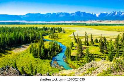Green mountain river valley landscape