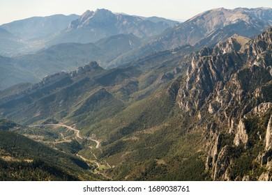 Green mountainous valley aerial landscape