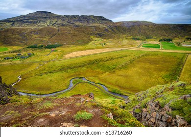 Green mountains in Iceland