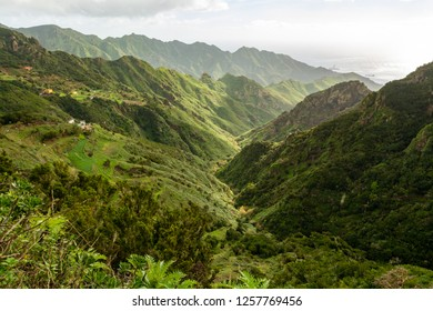 Green mountains slopes of Anaga National Park, Tenerife, Canary Islands, Spain