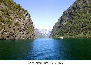 Green mountains and Waterfalls in Sognefjord Scandinavia. Norway