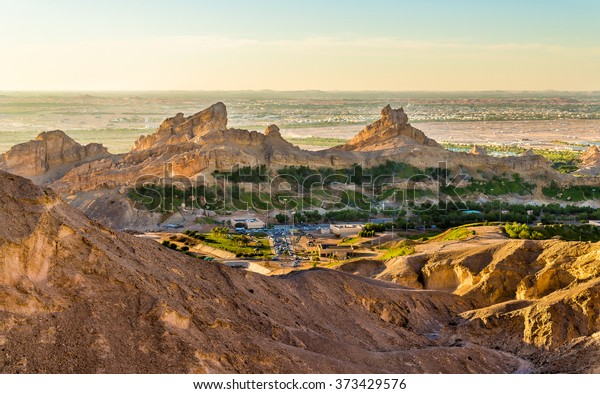 Green Mubazzarah resort as seen from Jabel Hafeet mountains, UAE