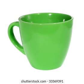 green Mug on a white background. (isolated)