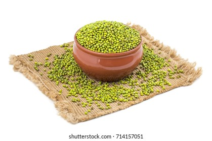 Green Mung Beans Also Know as Mung Dal, Vigna Radiata, Green Beans or Moong Dal isolated on White Background