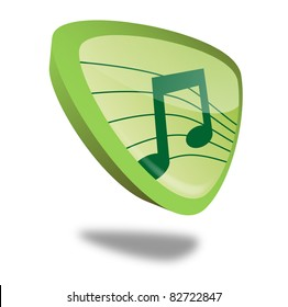 green music button with perspective, symbol for audio and sound