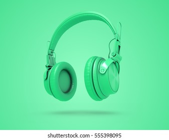 Green Musical background with audio nice headphones. 3d Illustration