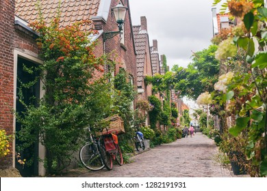 Green narrow old street of Alkmaar, Netherlands