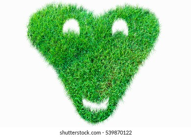 Green nature real grasss heart symbol for love valentine. isolated on white