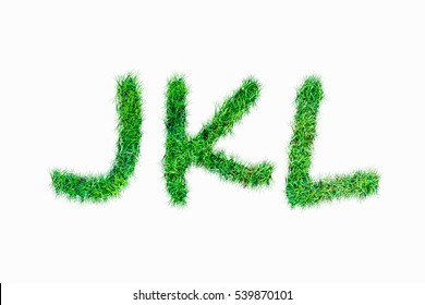 Green nature real grasss j k l font isolated on white