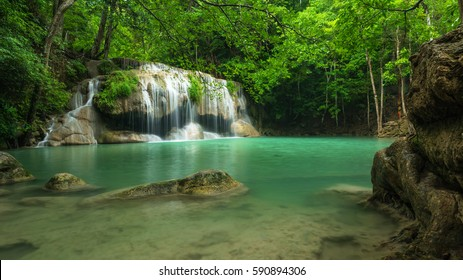 Green nature with green waterfall landscape, Erawan waterfall located Khanchanaburi Province, Thailand