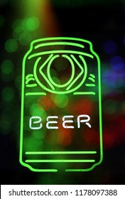 Green Neon Beer Can Sign Composite Image