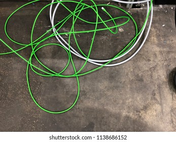 Green network cable knotted
