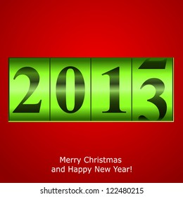 Green New Year counter on red background. Raster copy of vector illustration
