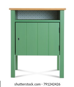 Green nightstand on white background