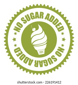 Green No Sugar Added Icon, Sticker, Badge or Label Isolated on White Background