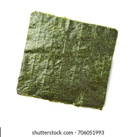 Green nori sheet isolated on white background. Nori is the ingredient for sushi.
