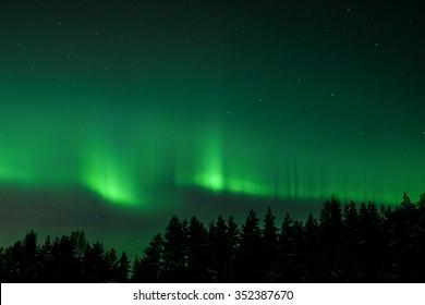 Green northern lights curve
