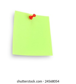 green note pad reminder on wall with clipping path