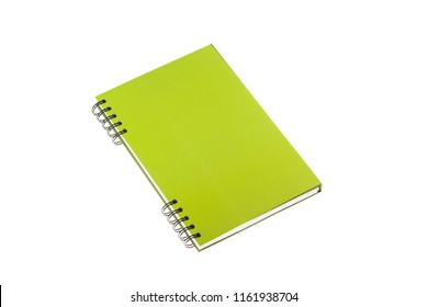 Green notebook isolated on white backround. Mockup.