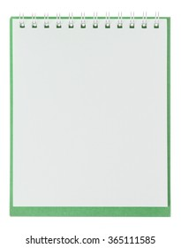 green notebook on a white background