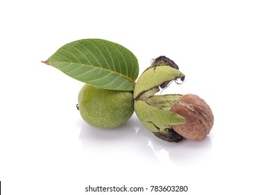 Green nuts that peeled isolated on white background