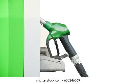 Green oil dispenser on white background