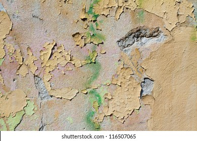 Green old grunge painted wall