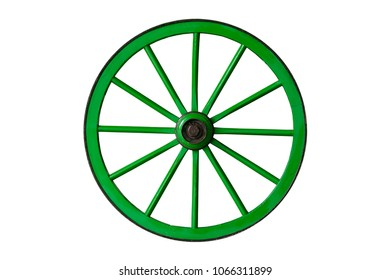 green old wooden wheel isolated on white background