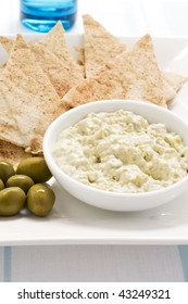 Green Olive dip with pita bread